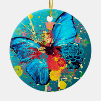 blue abstract butterfly beautiful design Double-Sided ceramic round christmas ornament