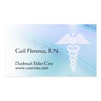 Blue Abstract & Caduceus Medical Business Cards