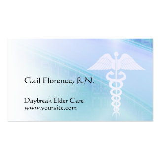Blue Abstract & Caduceus Medical Business Cards