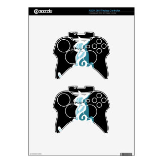 Blue abstract cat xbox 360 controller decal