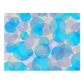 Blue abstract circles design postcard