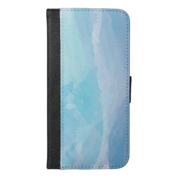 Blue, abstract, cool water color brush stroke art iPhone 6/6s plus wallet case