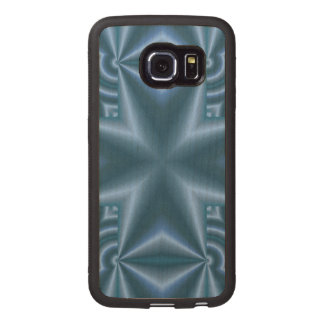 Blue abstract cross wood phone case