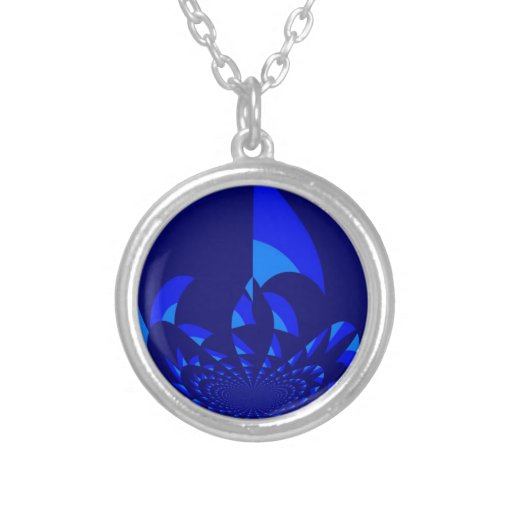 Blue Abstract Design Round Pendant Necklace