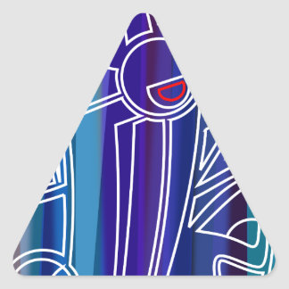 Blue Abstract Design Triangle Sticker