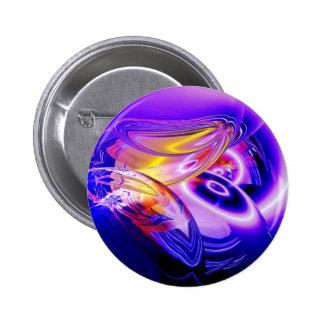Blue Abstract Digital Art Pinback Button