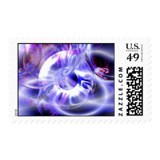 Blue Abstract Digital Art Postage