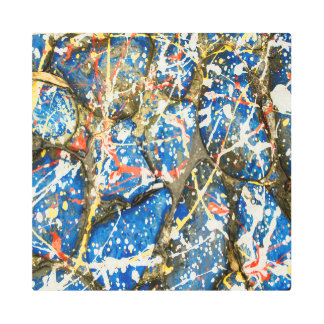 Blue Abstract Drip Painting Stones Metal Print