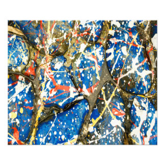 Blue Abstract Drip Painting Stones Photo Print