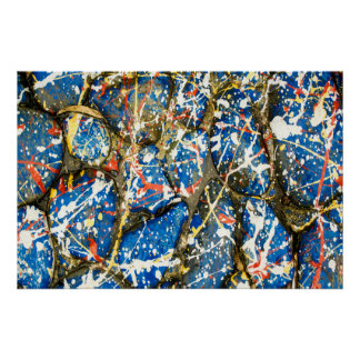 Blue Abstract Drip Painting Stones Poster