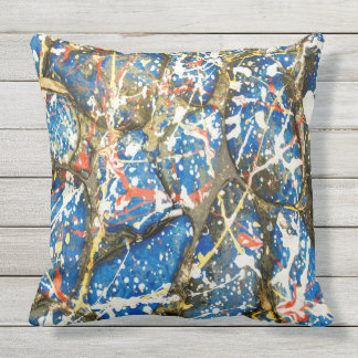 Blue Abstract Drip Painting Stones Throw Pillow