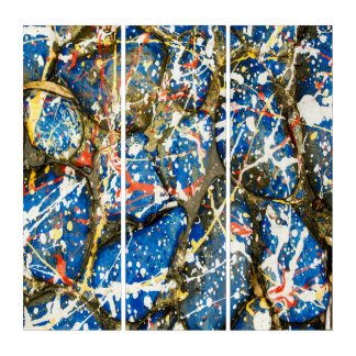 Blue Abstract Drip Painting Stones Triptych
