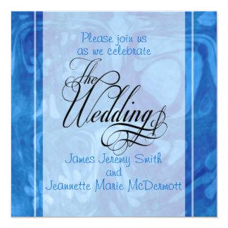 Blue Abstract Elegant Wedding Invitation Card