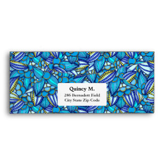 Blue abstract ethnic Cocoa beans pattern Envelope