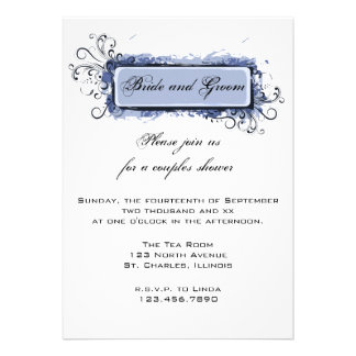 Blue Abstract Floral Couples Wedding Shower Custom Announcement