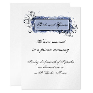 Blue Abstract Floral Elopement Announcement