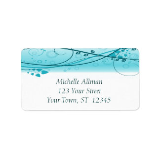 Blue Abstract Floral Swirls Label Labels