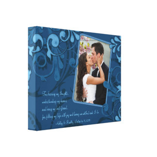 Blue Abstract Floral Wedding Photo Template Canvas Stretched Canvas Prints