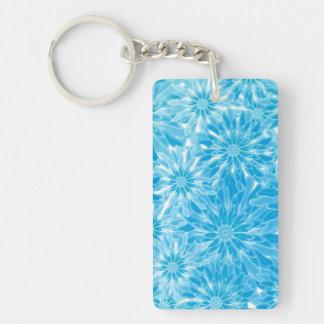Blue Abstract Flowers Digital Art Keychain