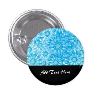 Blue Abstract Flowers Digital Art Pinback Button