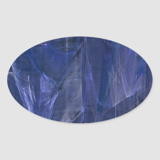 Blue Abstract Fractal Oval Sticker