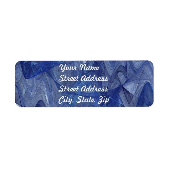 Blue Abstract Fractal Return Address Sticker Label