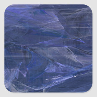 Blue Abstract Fractal Square Sticker