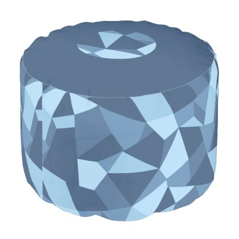Blue abstract geometric shapes pouf