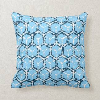 Blue Abstract Honeycomb Reversible Throw Pillow
