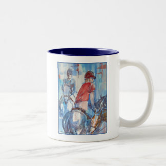 Blue Abstract Horse and Rider Watercolor Art Coffee Mug
