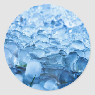 Blue Abstract Ice Crystals Water Drops Classic Round Sticker