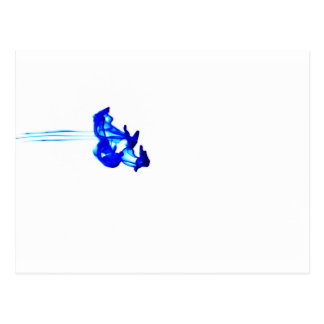 Blue Abstract Ink Drop Macro Photography Postcard