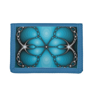 Blue Abstract Jewels fractal Tri-fold Wallets