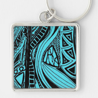 Blue Abstract Keychain