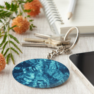 Blue Abstract Basic Round Button Keychain