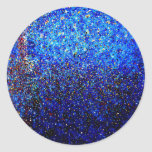 Blue Abstract Lighthouse Paint Splatter Painting Classic Round Sticker