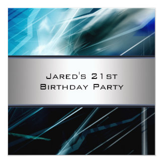 Blue Abstract Mans 21st Birthday Party Card