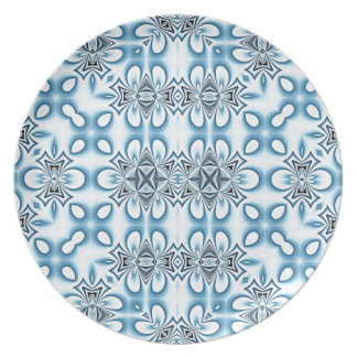 Blue Abstract Mirrors Melamine Plate