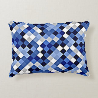 Blue Abstract Mosaic Pattern Accent Pillow