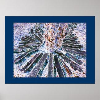 Blue Abstract Nature Art prints Rocks Neon Art Poster