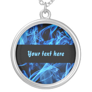 Blue Abstract Round Pendant Necklace