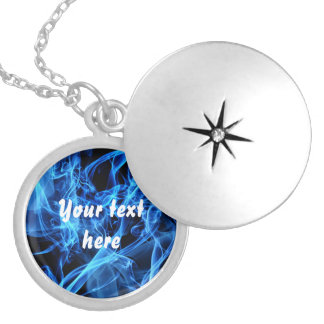 Blue Abstract Round Locket Necklace