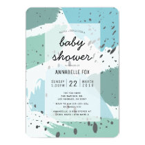Blue Abstract Pattern Baby Shower Invitation