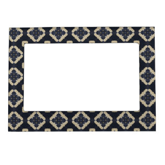 blue abstract pattern geometric quatrefoil yoga magnetic photo frame
