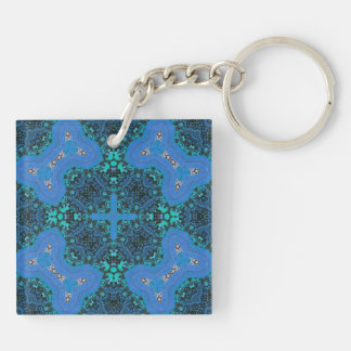 Blue abstract pattern keychain