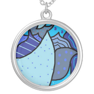 Blue Abstract Pattern Necklace