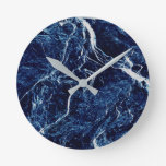 Blue Abstract Pattern Round Clock
