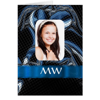 Blue abstract photo template card