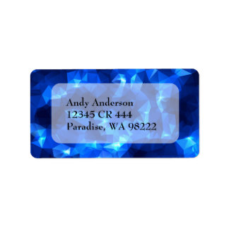 Blue Abstract Polygonal with Stars Custom Address Label