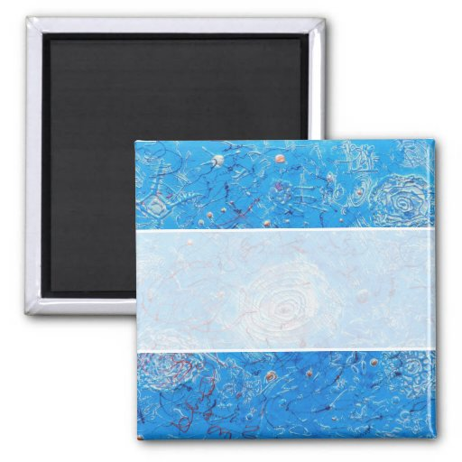 Blue Abstract Printed Pattern 2 Inch Square Magnet